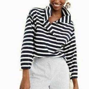 J. Crew Striped Snap-Neck Sweatshirt